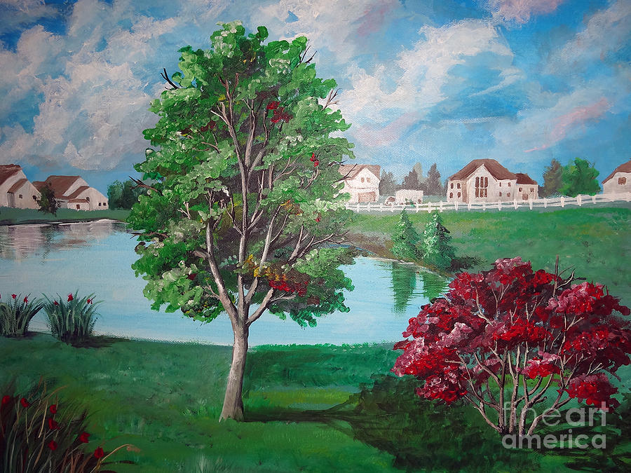 Trees Painting - somewhere in Hilliard by Soumya Bouchachi