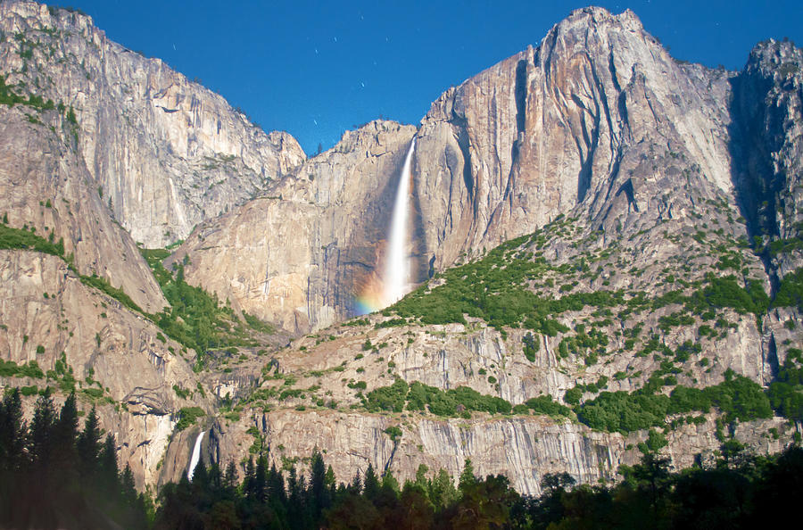 Moonbow Photograph - Somewhere Under The Moonbow At Yosemite Falls by Steven Barrows
