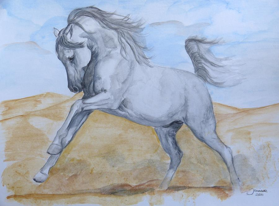Arabian Horse Painting - Son Of The Desert by Janina  Suuronen