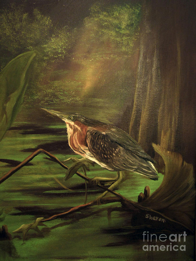 Heron Painting - Song Of The Everglades by Sharon Burger