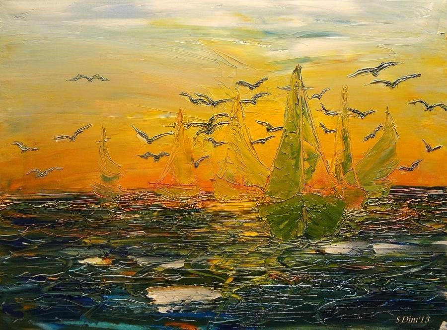 Boats Painting - Song Of The Wind by Svetla Dimitrova