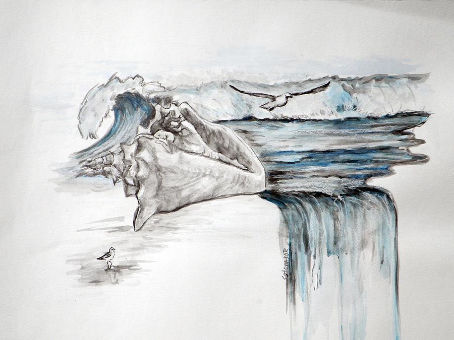 Sea Painting - Sonido Del Mar by Gladiola Sotomayor