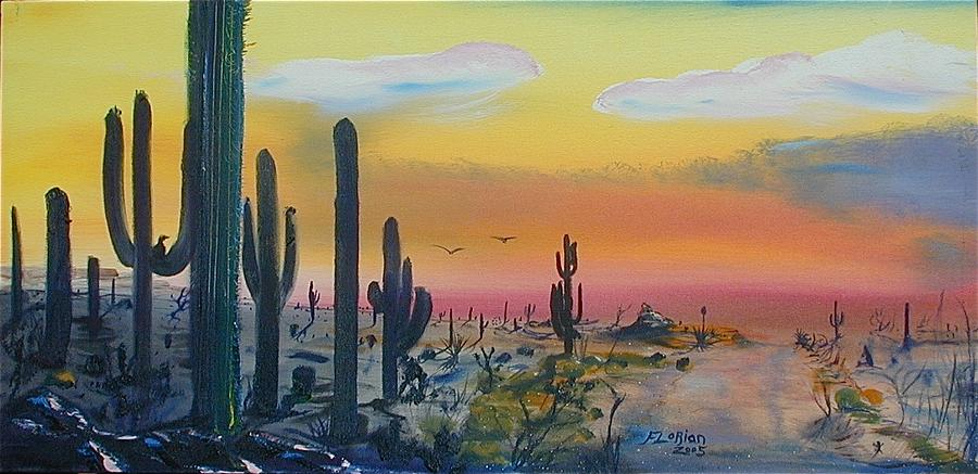 Sonora Desert Sunset Lanscape Painting - Sonora Alive by J FLoRian Dunn