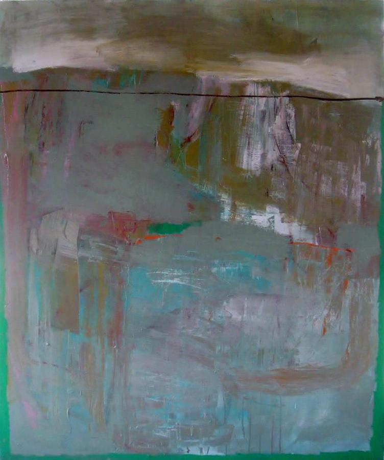 Large Abstract Landscape Painting - Soon The Green Will Cover The Grey by Brooke Wandall