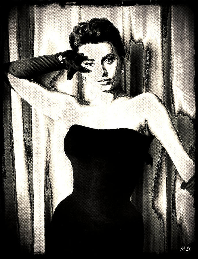 Sophia Loren Digital Art - Sophia Loren - Black And White by Absinthe Art By Michelle LeAnn Scott