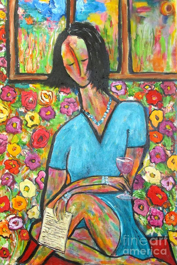 Woman Painting - Sophies Letter by Chaline Ouellet