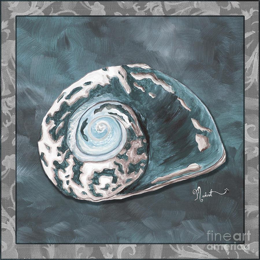 Coastal Painting - Sophisticated Coastal Art Original Sea Shell Painting Beachy Sea Snail By Megan Duncanson Of Madart by Megan Duncanson