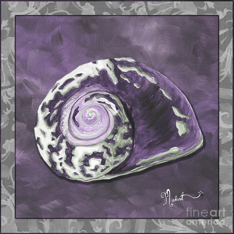 Coastal Painting - Sophisticated Coastal Art Original Sea Shell Painting Purple Royal Sea Snail By Madart by Megan Duncanson