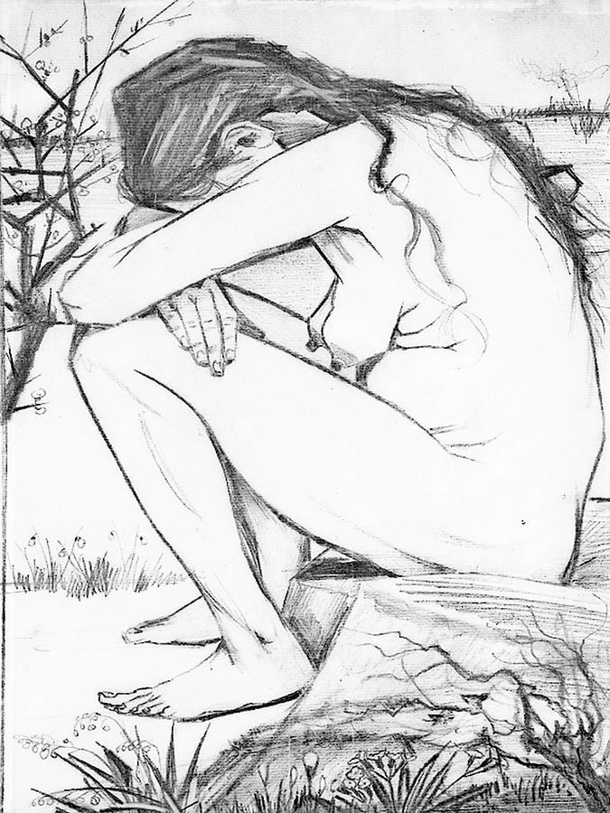 Trauma Drawing - Sorrow After Vincent Van Gogh  by Tracey Harrington-Simpson