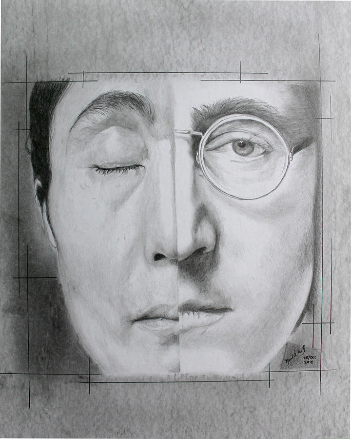 Lennon Drawing - Sorrow For The Loss - Finished by Miguel Rodriguez