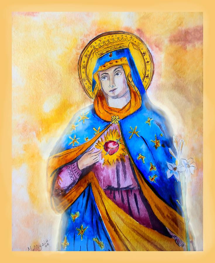 Traditional Painting - Sorrowful Immaculate Heart by Myrna Migala