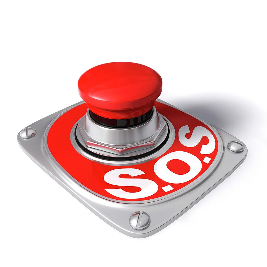 Button Photograph - Sos Button by Ktsdesign/science Photo Library