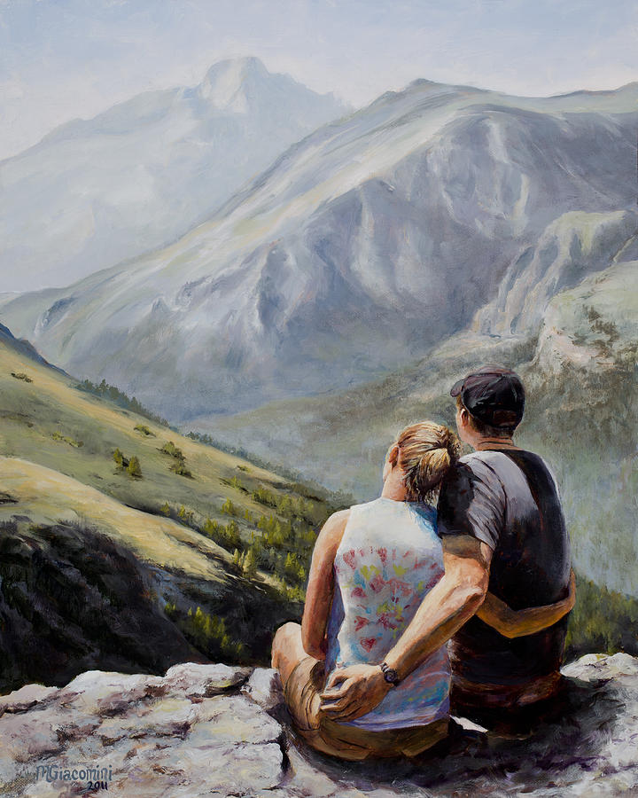 Longs Peak Painting - Soul Mates by Mary Giacomini