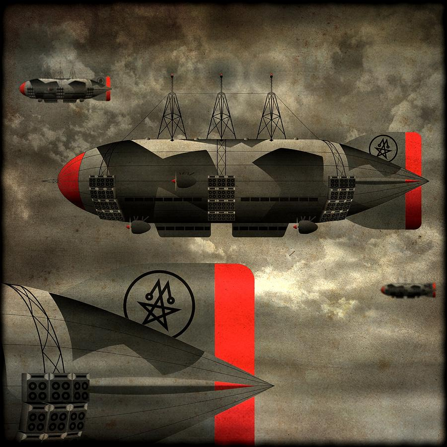 Airship Digital Art - Sound Zeppelins by Milton Thompson
