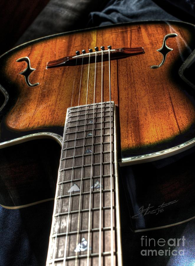 Acoustic Photograph - Sounding Off Digital Guitar Art Bt Steven Langston by Steven Lebron Langston