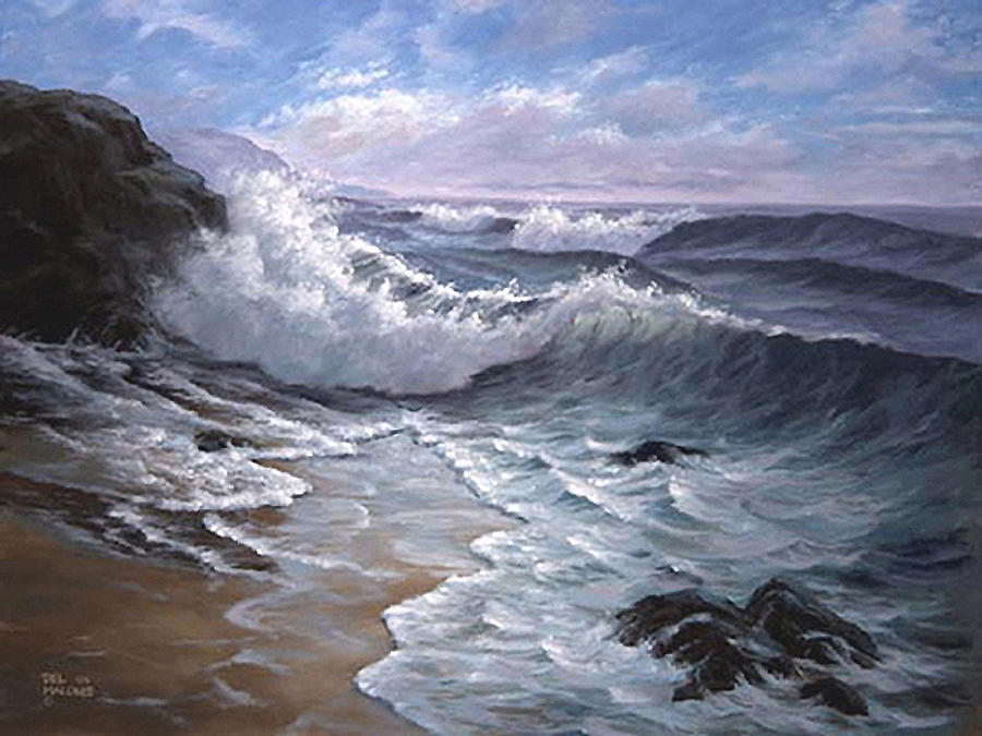 Sounding Waves At Big Sur Painting By Del Malonee