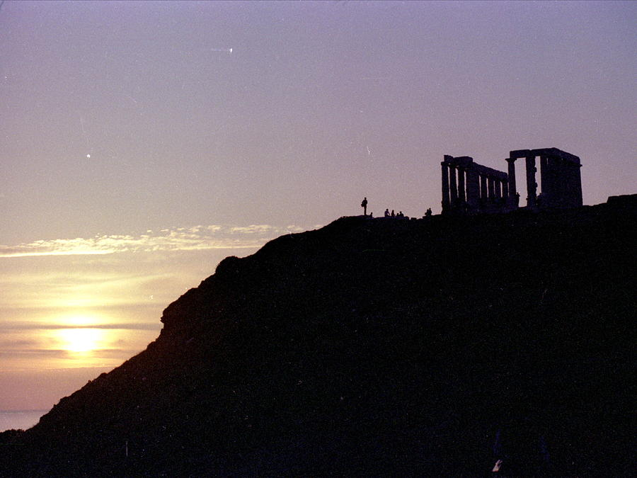 Temple Photograph - Sounion Greece Sunset by Mike McCool