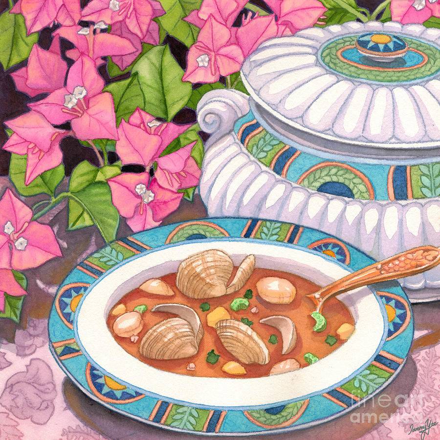 Dining Painting - Soup And Bougainvillia by Tammy Yee