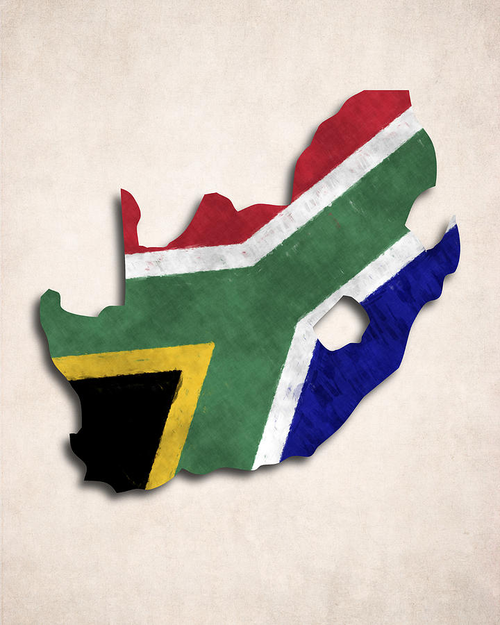 South Africa Map Art With Flag Design Digital Art by World Art