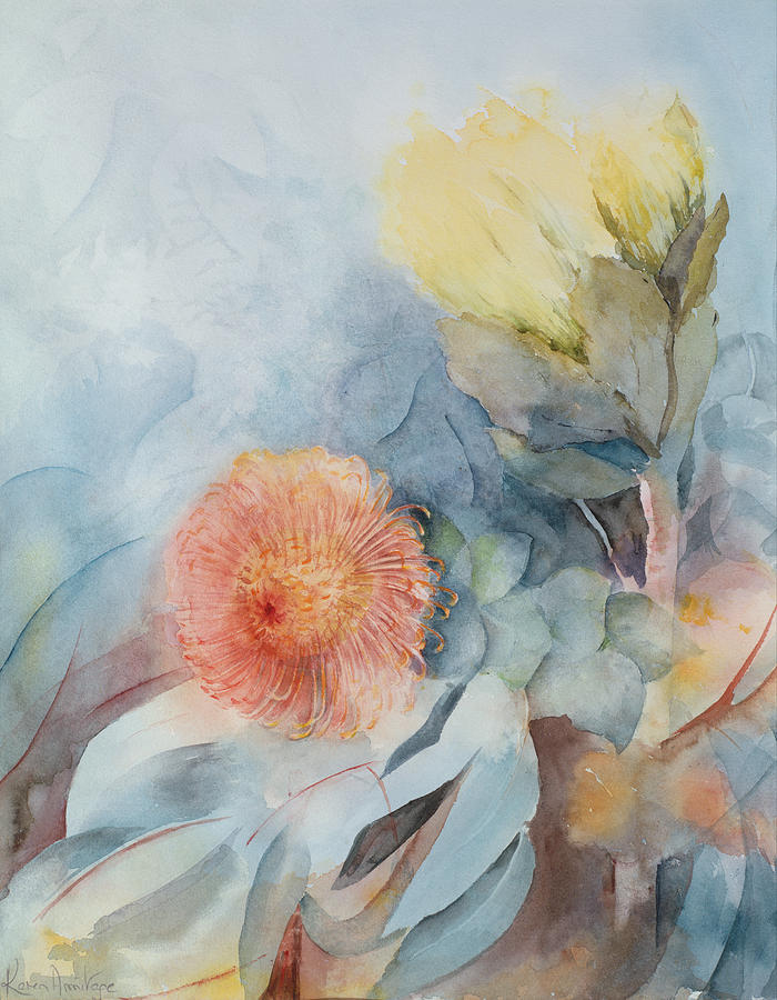 Protea Painting - South Africa Protea by Karen Armitage
