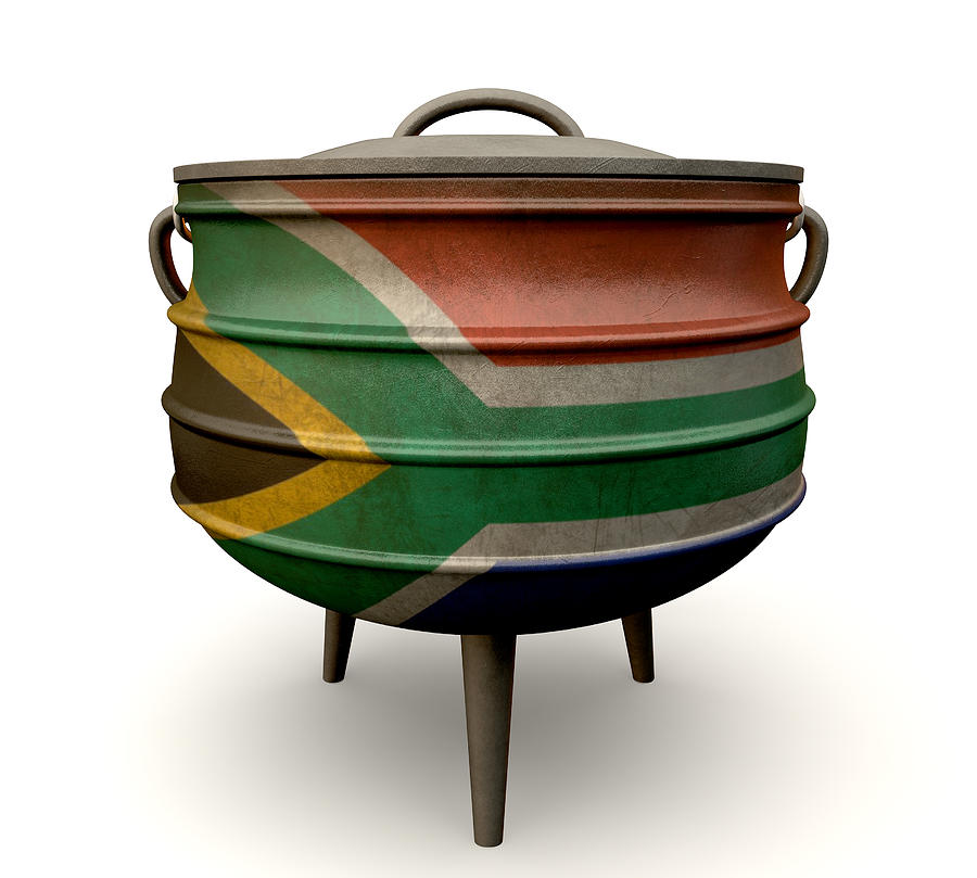 South African Potjie Pot Painted Flag Digital Art by Allan