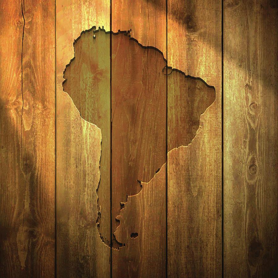 South America Map On Lit Wooden Digital Art by Bgblue