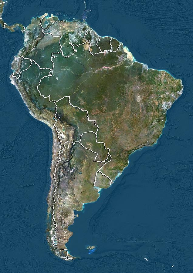 2012 Photograph - South America, Satellite Image by Science Photo Library