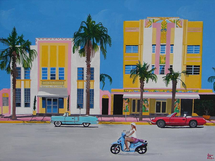 South Beach Miami Painting By David Ellis - Painting miami