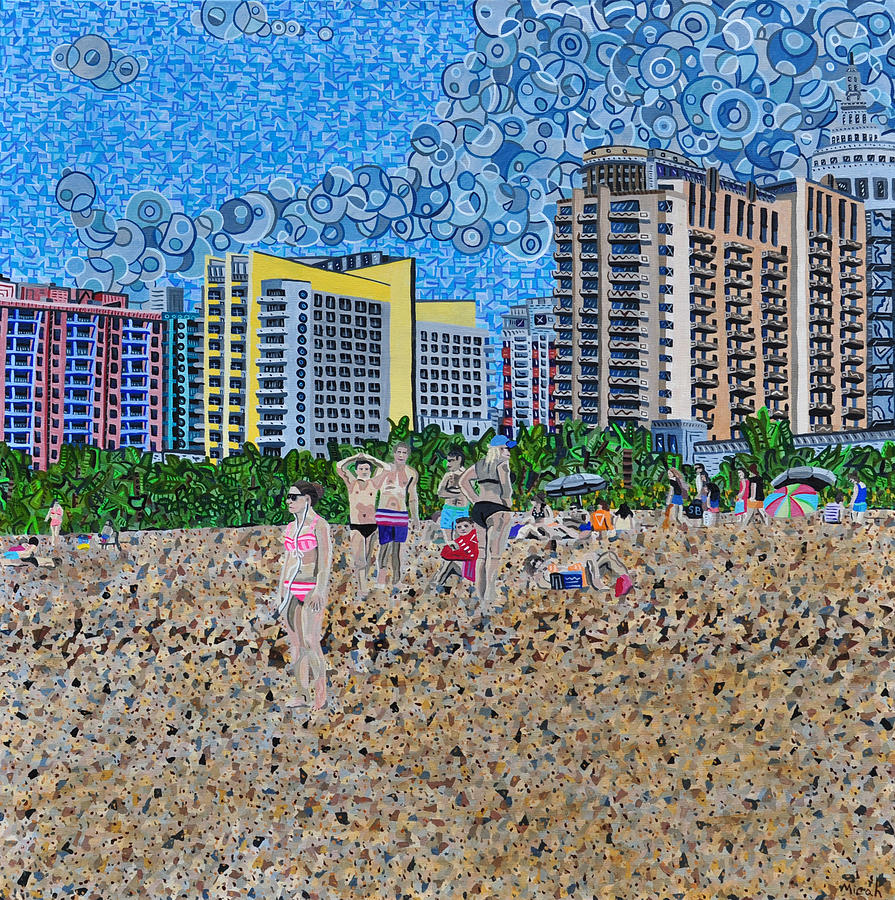 Landscape Painting - South Beach - Miami by Micah Mullen