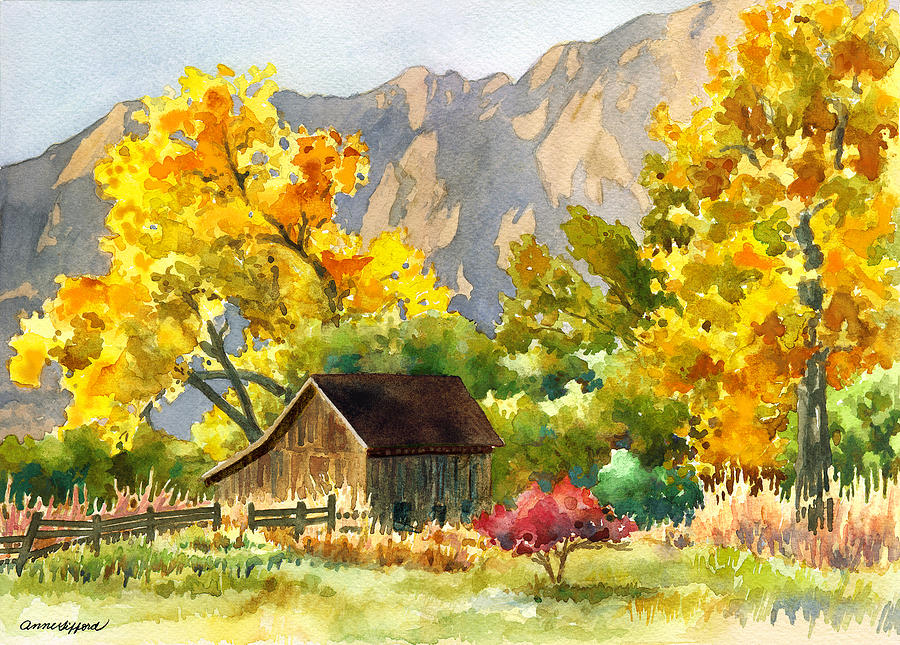 South Boulder Barn Painting by Anne Gifford
