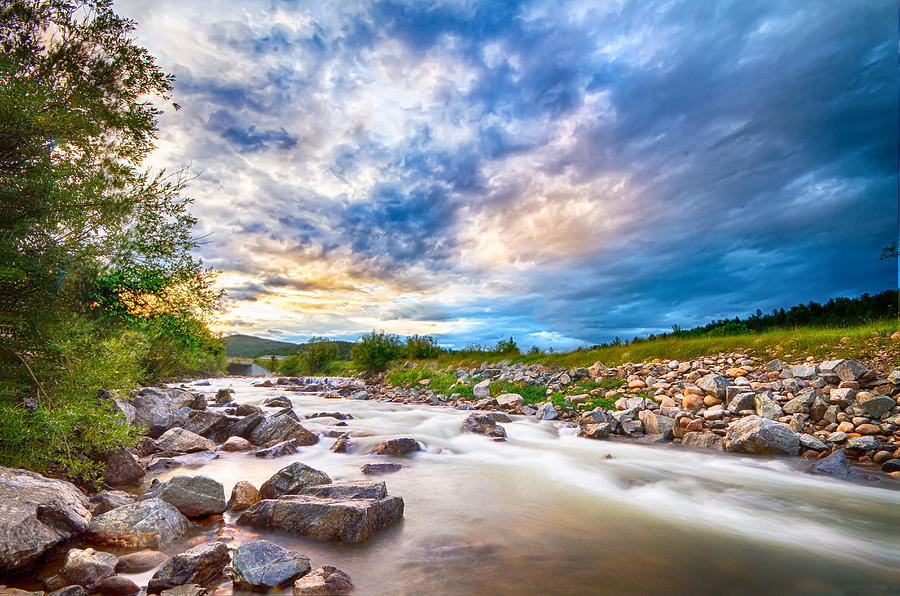 Creek Photograph - South Boulder Creek Sunset View Rollinsville Colorado by James BO  Insogna