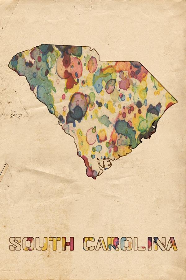 Vintage South Carolina Map.South Carolina Map Vintage Watercolor Painting By Florian Rodarte