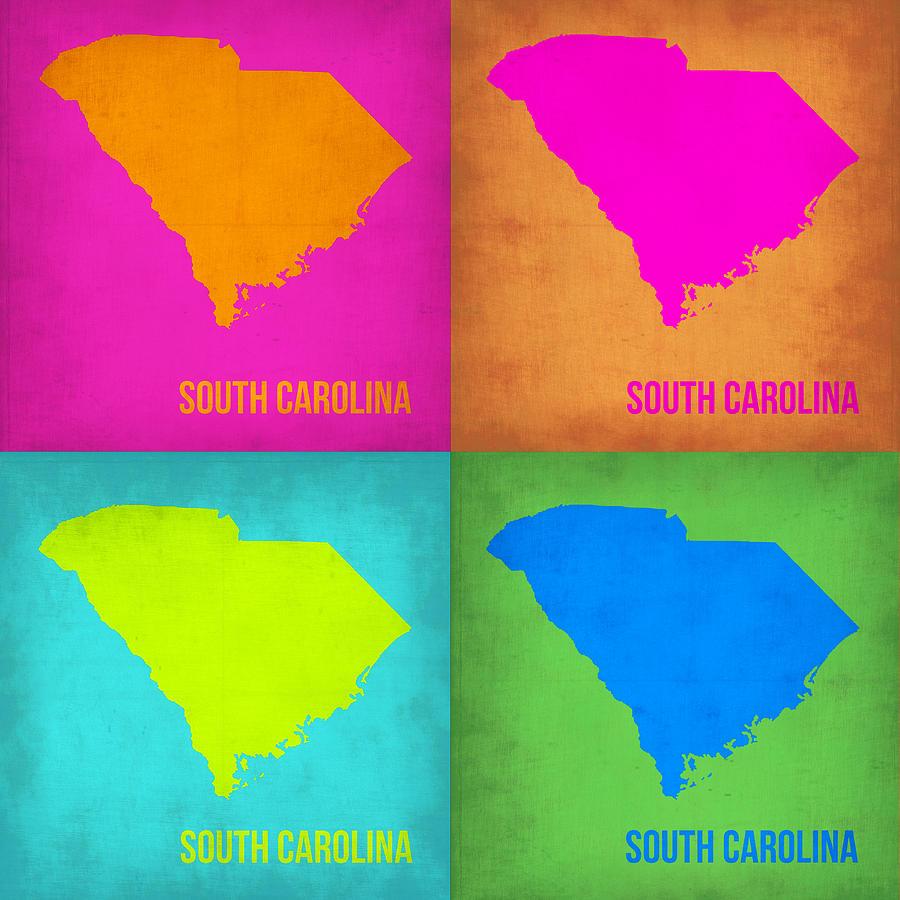 South Carolina Map Painting - South Carolina Pop Art Map 1 by Naxart Studio