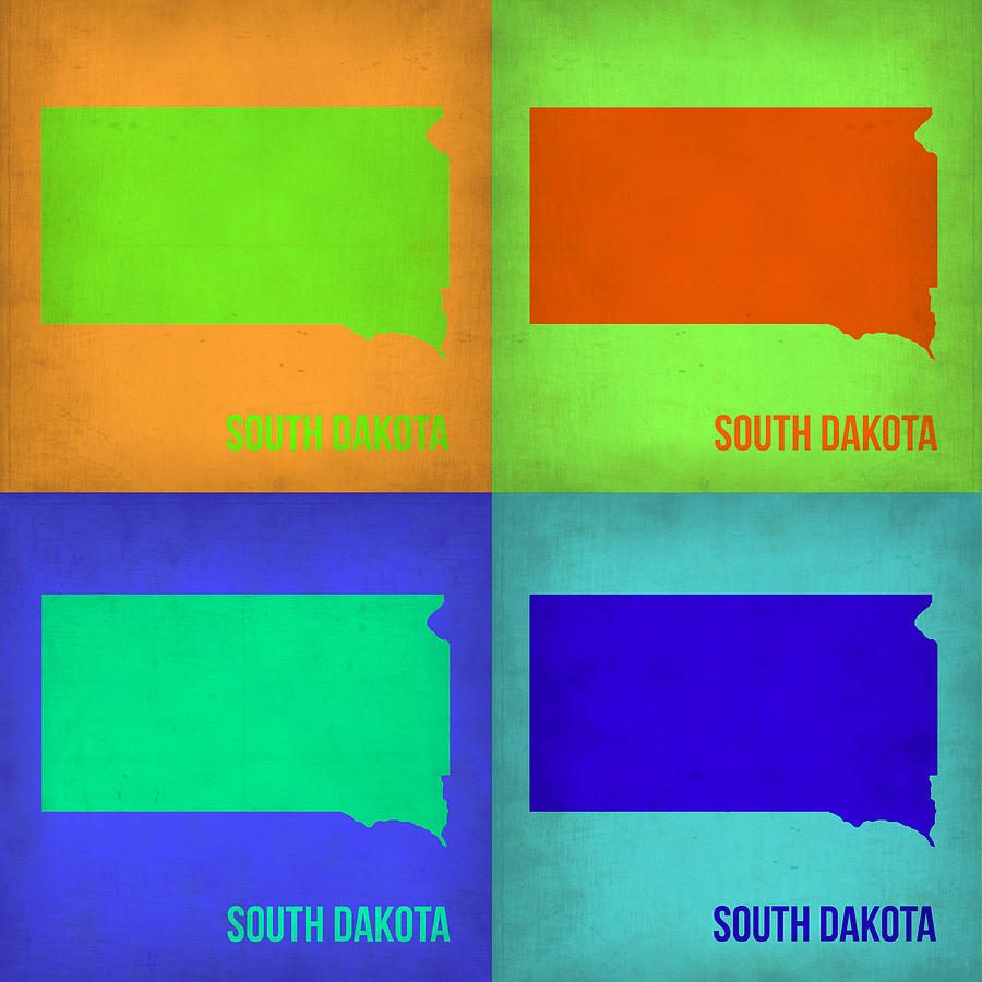 South Dakota Map Painting - South Dakota Pop Art Map 1 by Naxart Studio