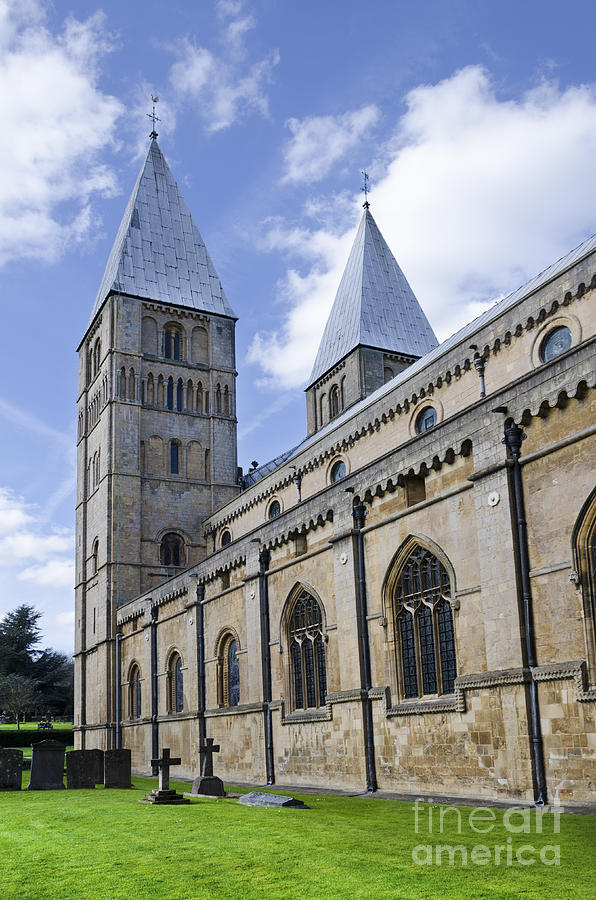 Southwell Minster Photograph - South face of Southwell Minster by Steev Stamford