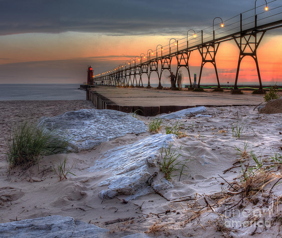 South Haven Photograph - South Haven Beach And Lighthouse by Twenty Two North Photography