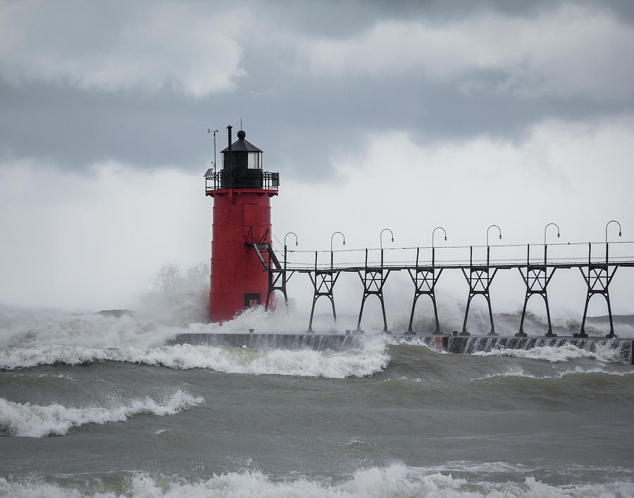 Lighthouse Photograph - South Haven Pier Light In A Storm by Kimberly Kotzian