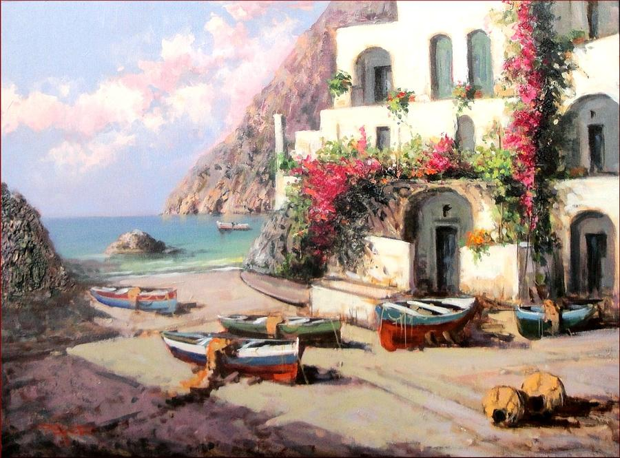 South Italian Beach House Painting by Pasquale Esposito