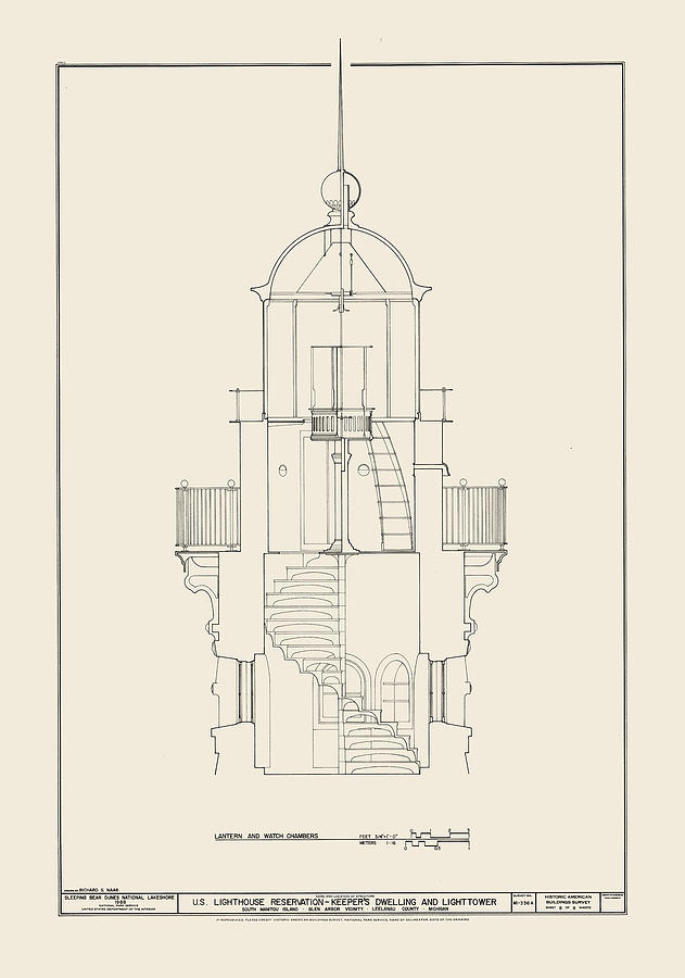 Uscg Drawing - South Manitou Island Lighthouse by Jerry McElroy