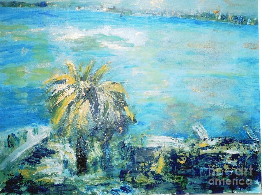 Seascape Painting - South Of France    Juan Les Pins by Fereshteh Stoecklein