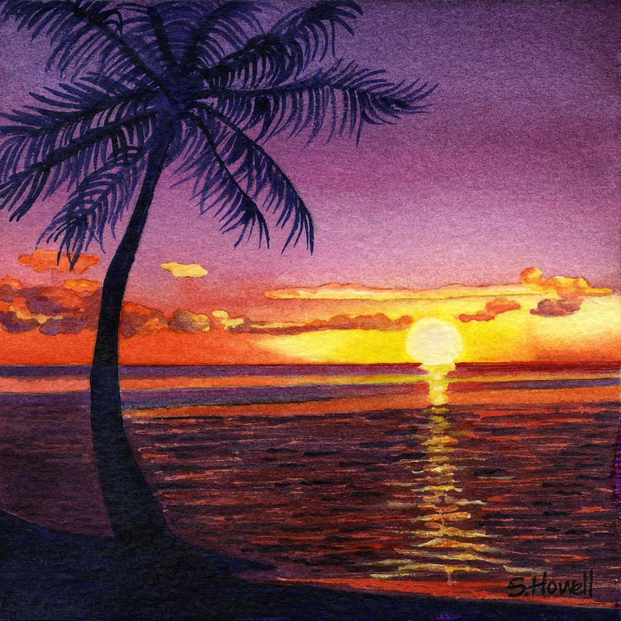 South Pacific Sunset Painting by Sandi Howell