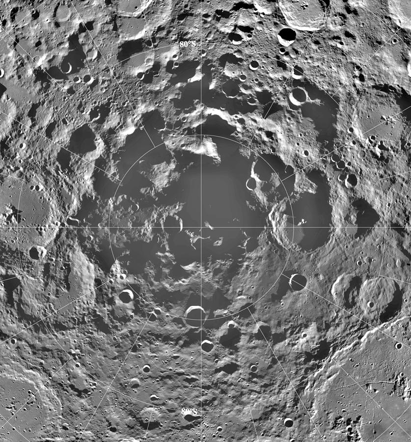 No People; Square Image; Outdoors; Moon; Space; Space Exploration; Crater; Grey; Galileo; Astronomy; Texture; Moon Surface; Shadow; Concentric; Llunar South Pole Photograph - South Pole Of Moon  by Anonymous