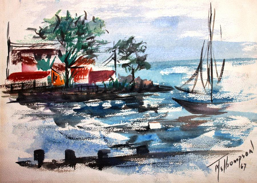 South Shore Painting - South Shore Dock 1967 by Mary Spyridon Thompson