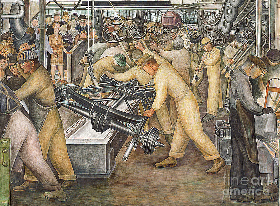 Machinery Painting - South Wall of a Mural depicting Detroit Industry by Diego Rivera
