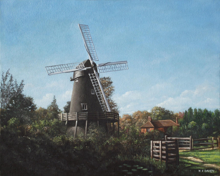 Windmill Painting - Southampton Bursledon Windmill by Martin Davey