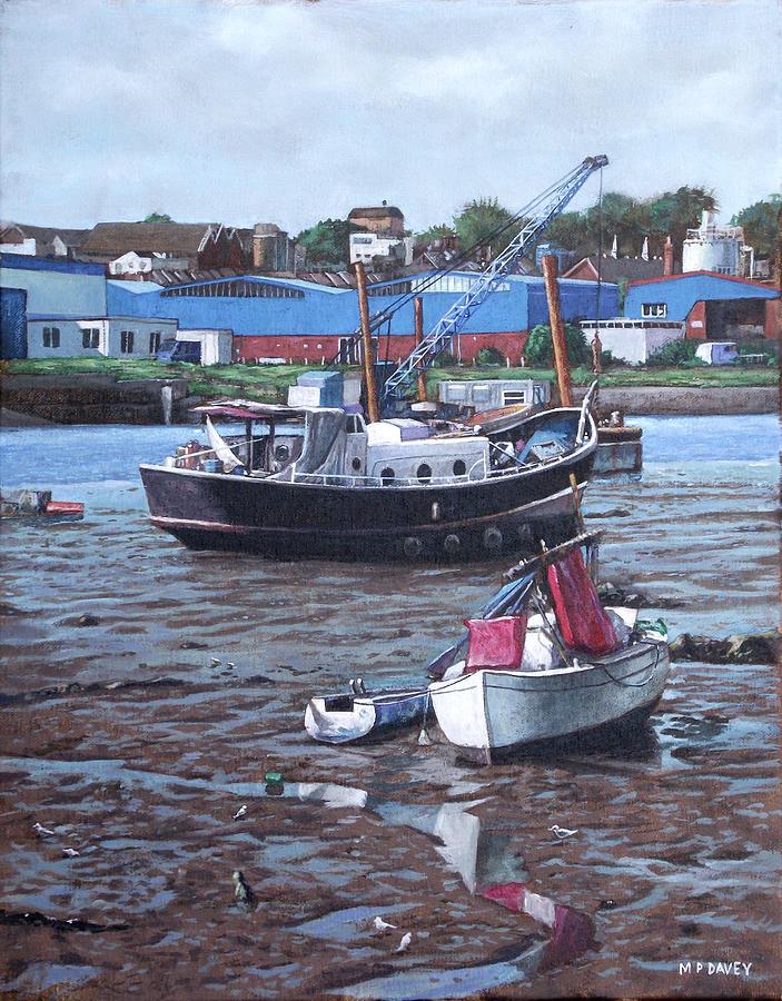 Southampton Painting - Southampton Northam Boats by Martin Davey