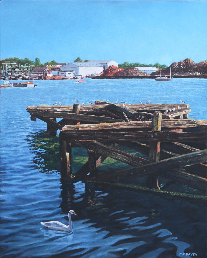 Southampton Painting - Southampton Northam River Itchen Old Jetty With Sea Birds by Martin Davey