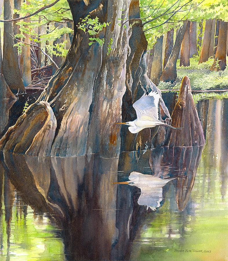 Swamp Painting - Southeast Missouri Swamp by Brenda Beck Fisher