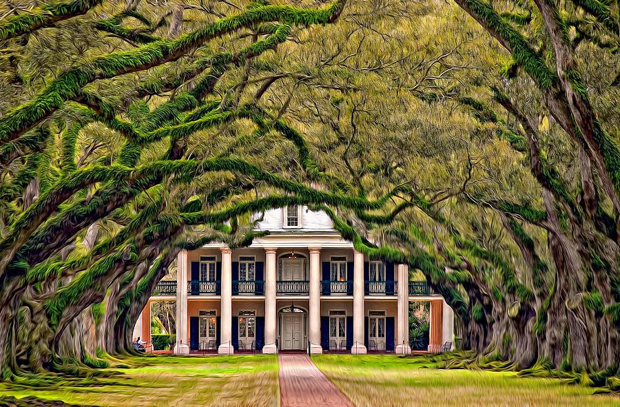 Oak Alley Plantation Photograph - Southern Class Oil by Steve Harrington