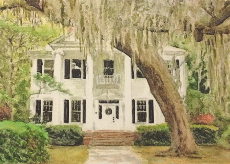 Southern Colonial House Portrait Painting By Lovereen Moore
